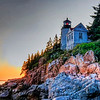 Bass Harbor Lighthouse processed in high dynamic range with smoothing software.