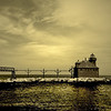 North Pier And Lighthouse - Sepia Toned