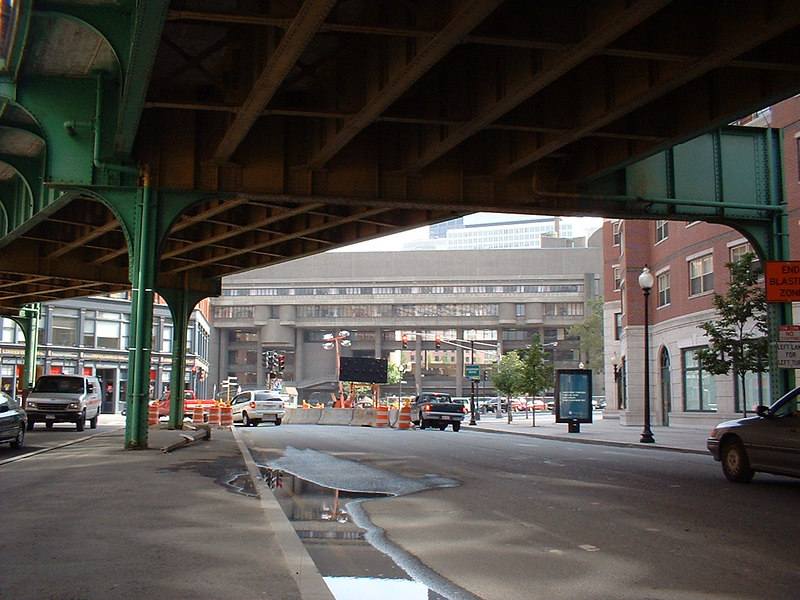 view from under the old elevated Green Line, now demolished.
