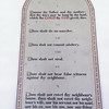 One of the memorials on the wall illustrating the 10 commandments.