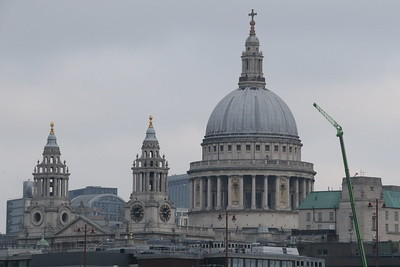 West End Spires and Dome of St Paul's Cathedral viewed from the Jubilee Walkway