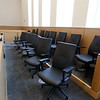 Tour of the new Lowell Justice Center with Clerk Michael Sullivan and project manager Jim Harding. Jury box in Civil Session courtroom L1.  (SUN/Julia Malakie)