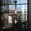 Tour of the new Lowell Justice Center with Clerk Michael Sullivan and project manager Jim Harding. Reflections looking out from the main lobby.  (SUN/Julia Malakie)
