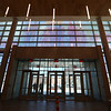 Tour of the new Lowell Justice Center. Part of the mural in the entrance lobby, painted between two layers of glass. It shows up better on cloudy days than sunny days. (SUN/Julia Malakie)