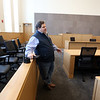 Tour of the new Lowell Justice Center with Clerk Michael Sullivan in a top floor courtroom. This is designated L1 for Civil Session.  (SUN/Julia Malakie)