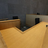 Tour of the new Lowell Justice Center. Witness stand in civil courtroom L1. (SUN/Julia Malakie)