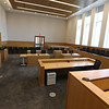 Tour of the new Lowell Justice Center with Clerk Michael Sullivan and project manager Jim Harding. Top floor courtroom, which has a higher ceiling. This is designated L1 for Civil Session.  (SUN/Julia Malakie)