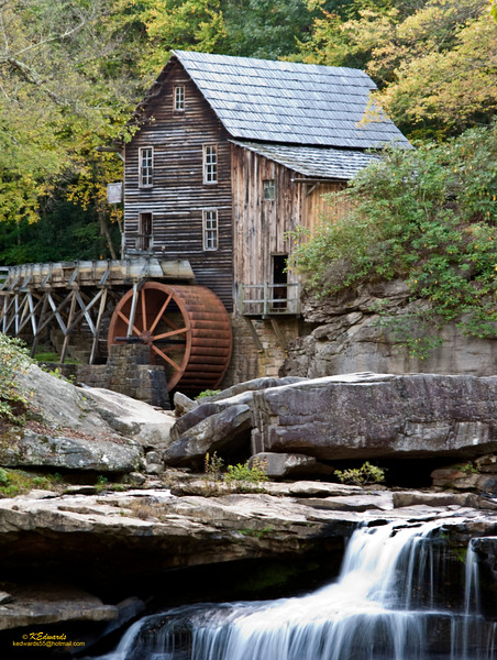 Glade Creek Grist Mill, WV<br />    1975, Replaced Cooper's Mill (burned down) and is   a composite of 3 mills. <br /> Structure - Stoney Creek Mill<br /> Stone floor & other parts - Onege Grist Mill<br /> Waterwheel - Spring Run Grist Mill