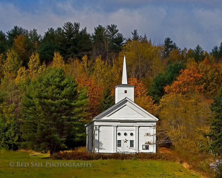 United Methodist Church, East Bucksport, Maine. An etching filter was applied to this image.