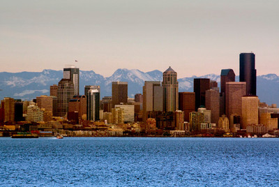 Downtown Seattle  Seattle Downtown with the Cascades in the backdrop