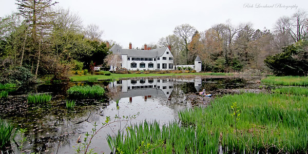 Pond and mansion at Chelsea center. Formerly the Summer estate of Benjamin Moore the paint tycoon.