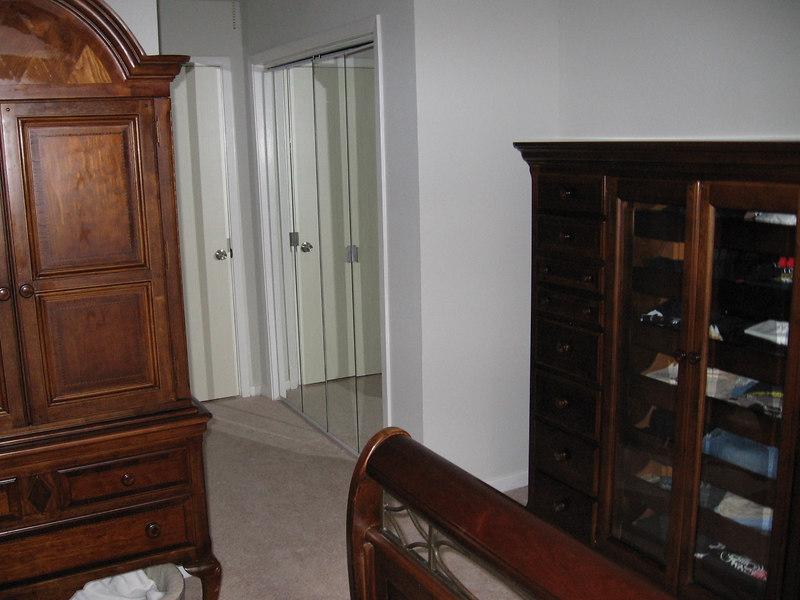 The bedroom looking toward the closet and bathroom.