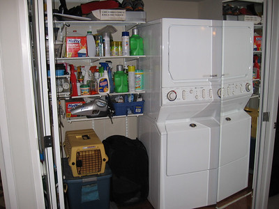 The mirrored pantry doors open to revael the pantry and the washer/dryer area. The washer and dryer are included.