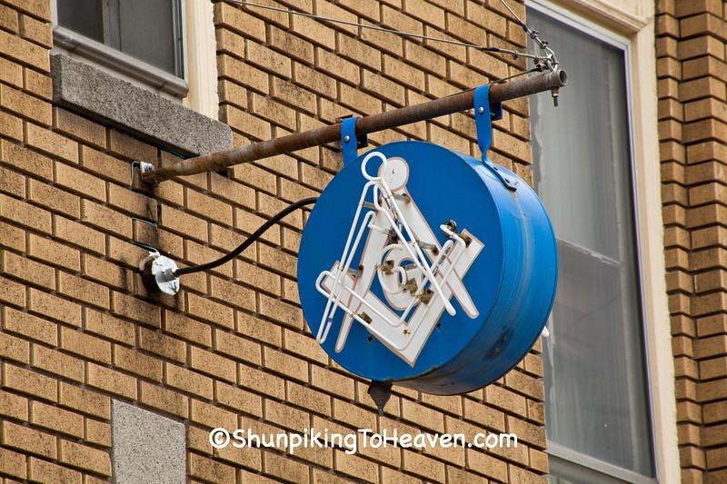 Neon Masonic Sign, Belmont County, Ohio