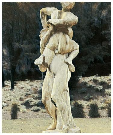 A white Shelly limestone statue of Hercules and Antaeus