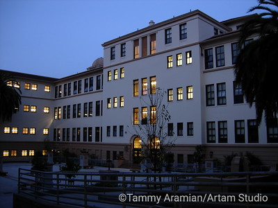 Galileo High's academic building as viewed from courtyard at dusk. Note observatory dome on left-hand side.