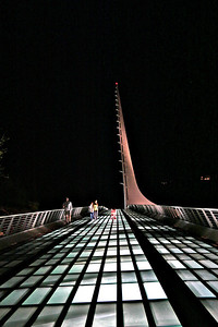 Sun Dial Bridge at night.  Redding, Ca