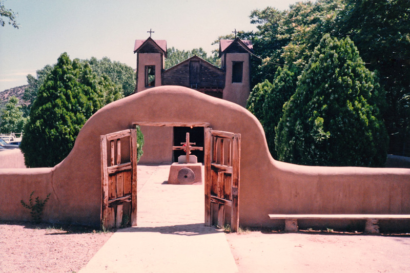 """EL SANTUARIO de CHIMAYO<br /> Chimayo, New Mexico<br /> <br /> Known widely as the """"Lourdes of America,"""" the soil at El Santuario as well as at other sites in the area was believed to produce a mud that, when eaten or applied to the skin, had miraculous healing powers. The crippled, blind, and those afflicted with other diseases came to be cured when all other treatments failed."""