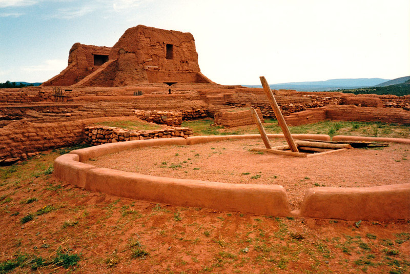 PECOS MISSION RUINS AND KIVA<br /> Pecos NHP, Pecos, New Mexico<br /> <br /> Archeologists now believe this kiva near the mission may have been concurrent with the second grand church. (The remains of that church and two reconstructed kivas and may be visited at Pecos National Historical Park.)