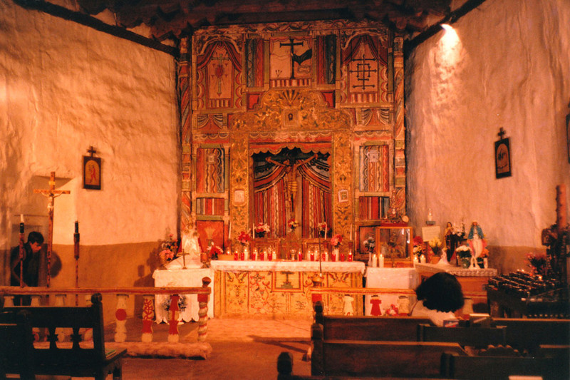 EL SANTUARIO de CHIMAYO INTERIOR Chimayo, New Mexico  This is one of the few churches I ever sat in that I felt truly at peace and at ease. Even the <i>padre</i> nodded and smiled at me. This place is pure magic.