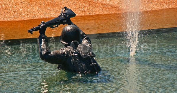 Solider in water at D-Day Memorial - 11/29/09