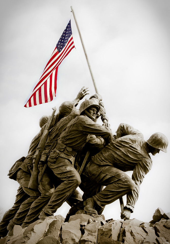Iwo Jima Memorial, Washington DC, single photo PS layers to Pop color from the sepia toned image