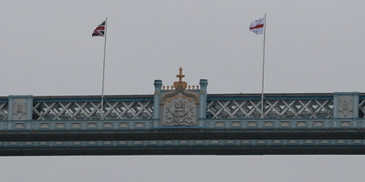 Flags and Crest on the walkway of Tower Bridge