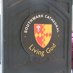 Southwark Cathedral crest on entrance to Montague Street