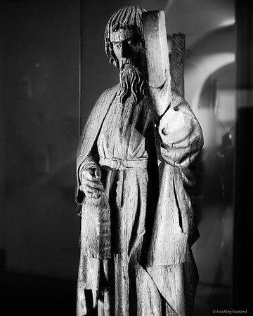 Wooden figure of St Andrew from Fife, Scotland, about 1500 AD