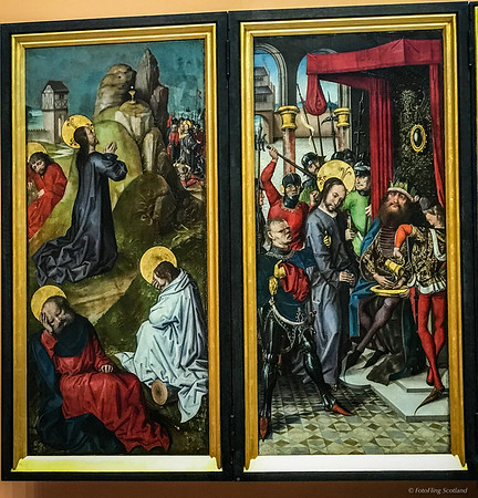 Part of the 15th century altarpiece of 'The Passion, Death & Resurrection of Christ',  panel paintings by The Master of the View of St Gudule
