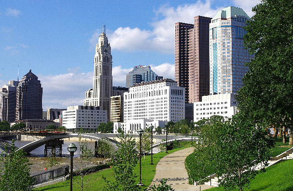 Downtown Skyline from Scioto Mile Fountain park -- Columbus