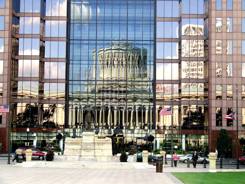 Reflection of Statehouse in Riffe Center -- windows-- Columbus, Oh
