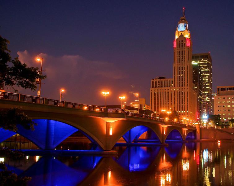 Broad Street Bridge & Leveque Tower -- Columbus