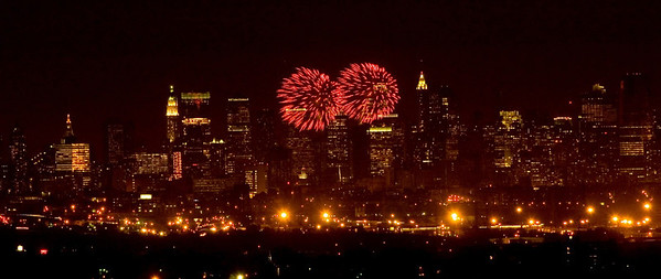 U.S. Navy Fleet Week fireworks over Manhattan.