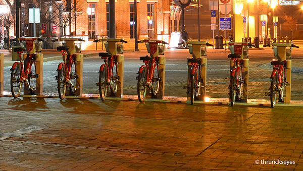 Bicycles ready for pedestrians to use while touring downtown Nashville.