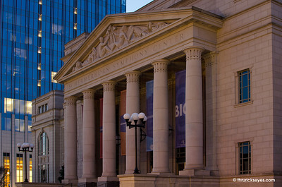 The main entrance to the Schermerhorn Symphony Center. The banners between the columns were flapping in a fairly strong breeze, so please pardon their blur.