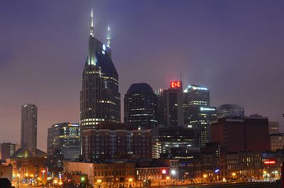 The view of the downtown Nashville skyline from the Shelby Street pedestrian bridge. I made this photo on a foggy Saturday morning about 6:25am.