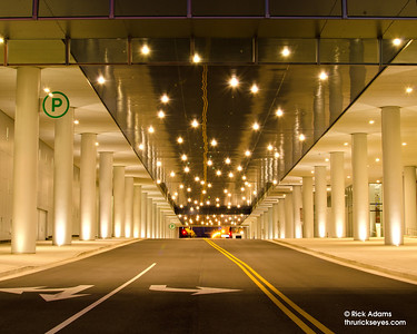 6th Avenue runs under the Music City Center in Nashville, TN. Here is what it looks like standing from the intersection.