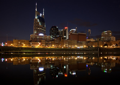 The Cumberland River was almost like glass for this shot of the Nashville skyline.  Taken about an hour after sunset.