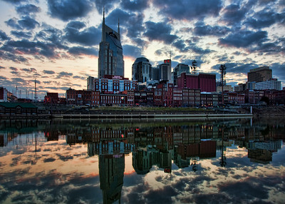 Nashville skyline at sunset.