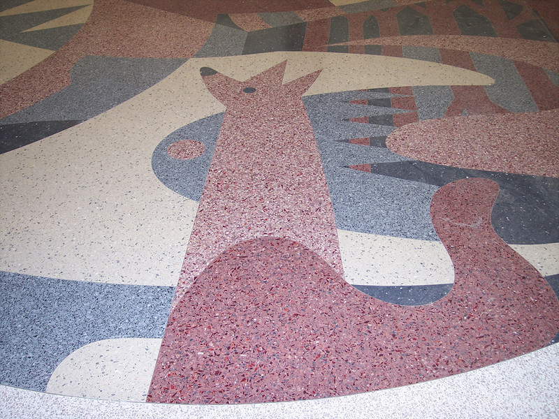 One of the floor murals