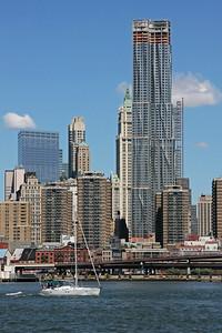 Manhattan skyline with boat