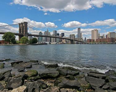Brooklyn Bridge with Manhattan in background.