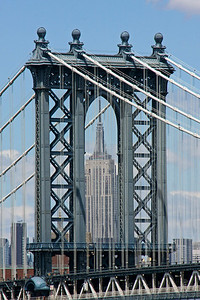 Manhattan Bridge tower with Empire State Building