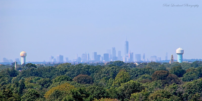 New York City skyline as seen from Norman J. Levy Park and Preserve in Merrick, NY.
