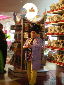 A dream for kids and adults alike!  Magicians, entertainers all in the toy store!