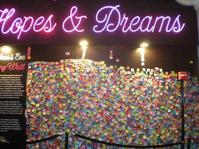 On New Year's Eve people take the ticker tape and write down their hopes and dreams and post them here....