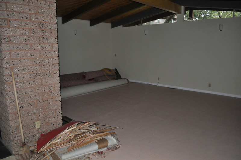 Aug 2011. Ripping up carpet. No skylights yet. Room is very dark.
