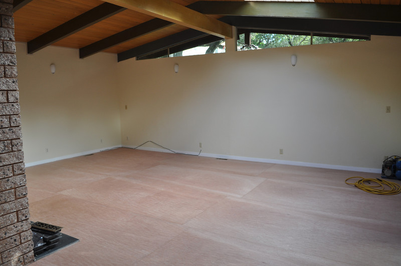 Aug 2011. Ripped up carpet. Skylights are in.