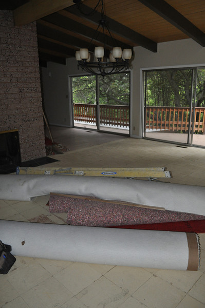 Agu 2011. Ripping up carpet in dining room. No skylights yet.